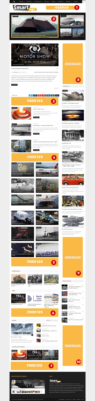 Przykładowe rozmieszczenie bannerów reklamowych na stronie SmartAge.pl