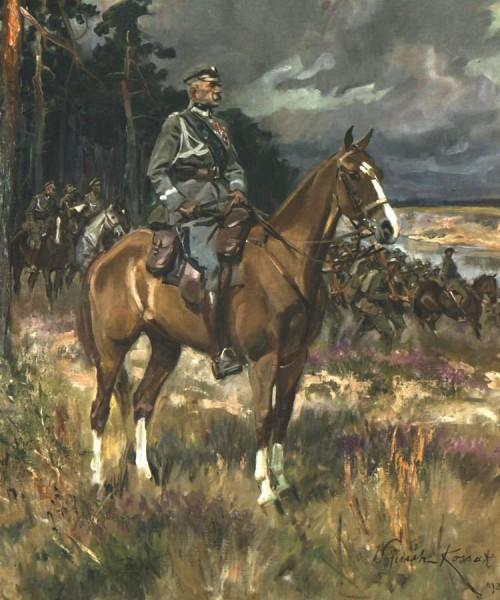 """""""Marszałek Józef Piłsudski na Kasztance"""" - obraz Wojciecha Kossaka z 1928 roku, obecnie Muzeum Narodowe w Warszawie"""