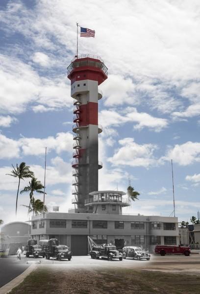 Widok na historyczną wieżę kontroli lotów na wyspie Ford. Dzisiaj wieża ta służy jako muzeum. (U.S. Navy photo illustration by Mass Communication Specialist 3rd Class Diana Quinlan)