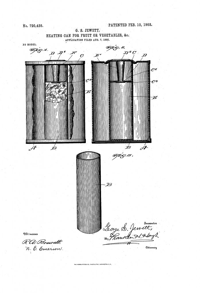 Samoogrzewająca się puszka opatentowana przez Georga Sidneya Jewetta