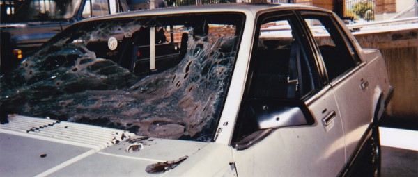 Zniszczony Chevrolet Celebrity należący do przestępców (fot. laobserved.com)
