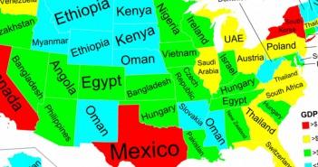 PKB poszczególnych stanów USA w porównaniu do państw (fot. reddit/Phaenthi)