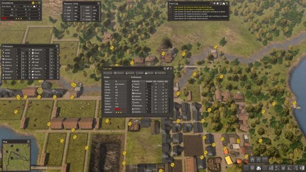 Statystki osady dostępne w ratuszu