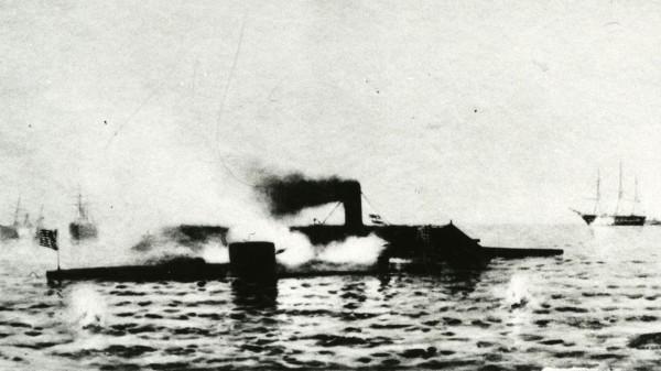 Grafika przedstawiająca bitwę pod Hampton Roads (fot. by Naval History and Heritage Command)