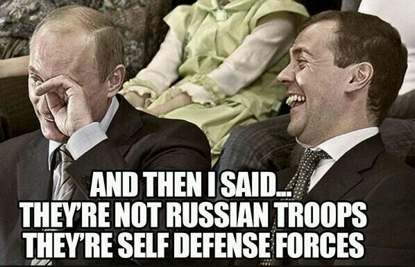 """...i wtedy powiedziałem """"to nie są rosyjscy żołnierze, to samoobrona"""" (źródło: Twitter @russian_market)"""