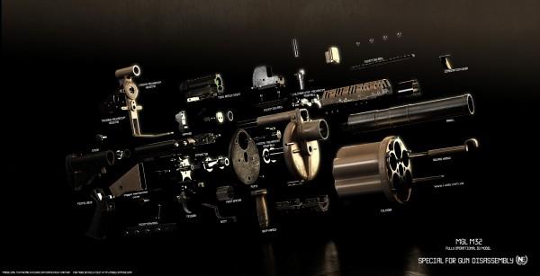 Granatnik MGL M32 (render by ABiator)