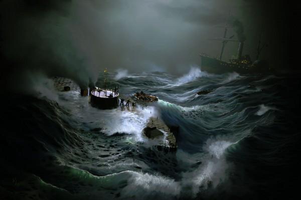 Grafika przedstawiająca zatonięcie USS Monitor (fot. Andy Simmons)