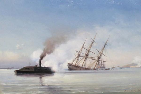 CSS Virginia po staranowaniu USS Cumberland