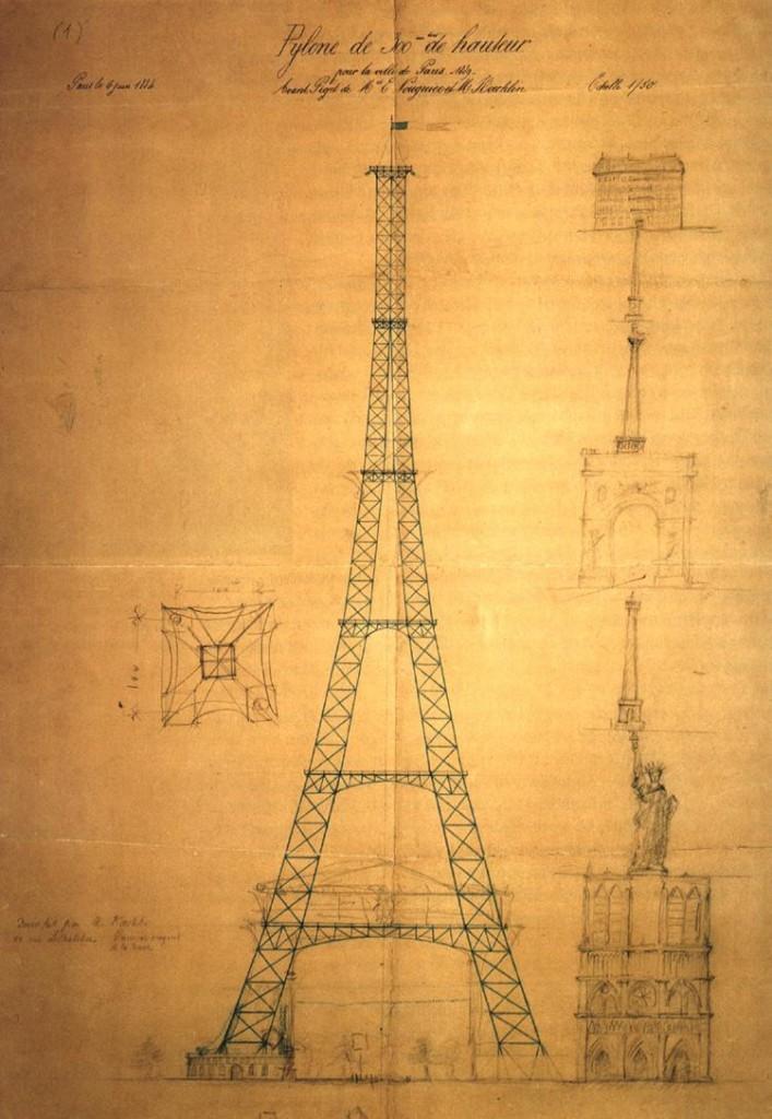 Jeden z pierwszych planów wieży autorstwa Maurice Koechlin i Émile Nouguier