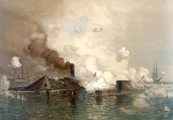 Bitwa w zatoce Hampton Roads - obraz z 1886 roku