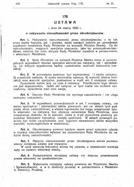 Ustawa z dnia 24 marca 1920 r. o nabywaniu nieruchomości przez obcokrajowców.