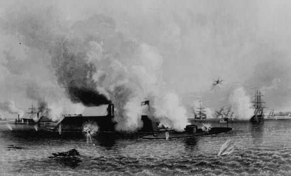 Grafika przedstawiająca bitwę pod Hampton Roads autorstwa J. Daviesa na podstawie rysunku C. Parsonsa.