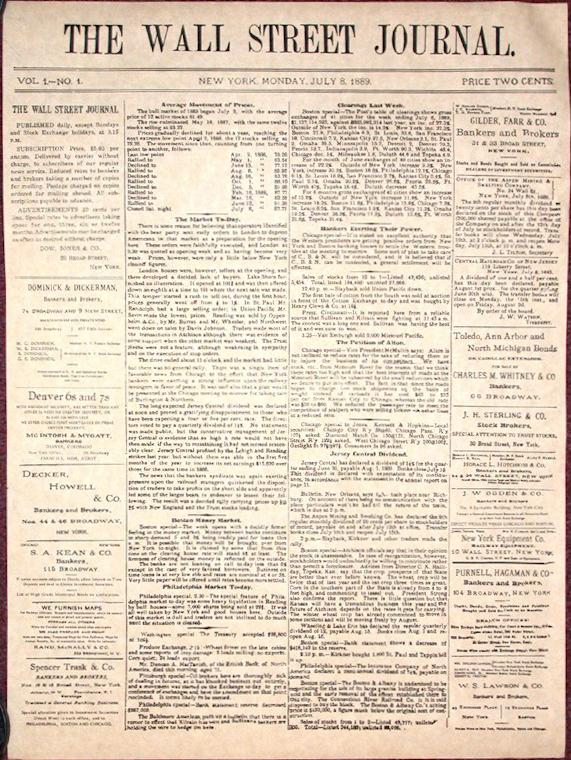 Pierwsze wydanie The Wall Street Journal z 8 lipca 1889 roku