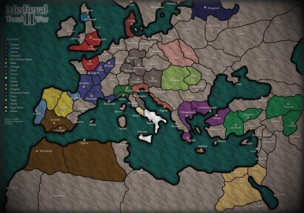 Mapa reprezentująca pozycje startowe nacji w grze Medieval 2 Total War