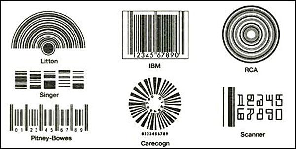 Jedne z propozycji pierwszych kodów kreskowych