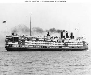 Parowiec Greater Buffalo sfotografowany 8 sierpnia 1942 roku przed przekazaniem wojsku