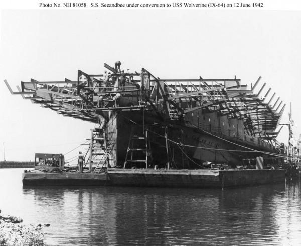 Seeandbee podczas przebudowy na USS Wolverine - 12 czerwca 1942 roku