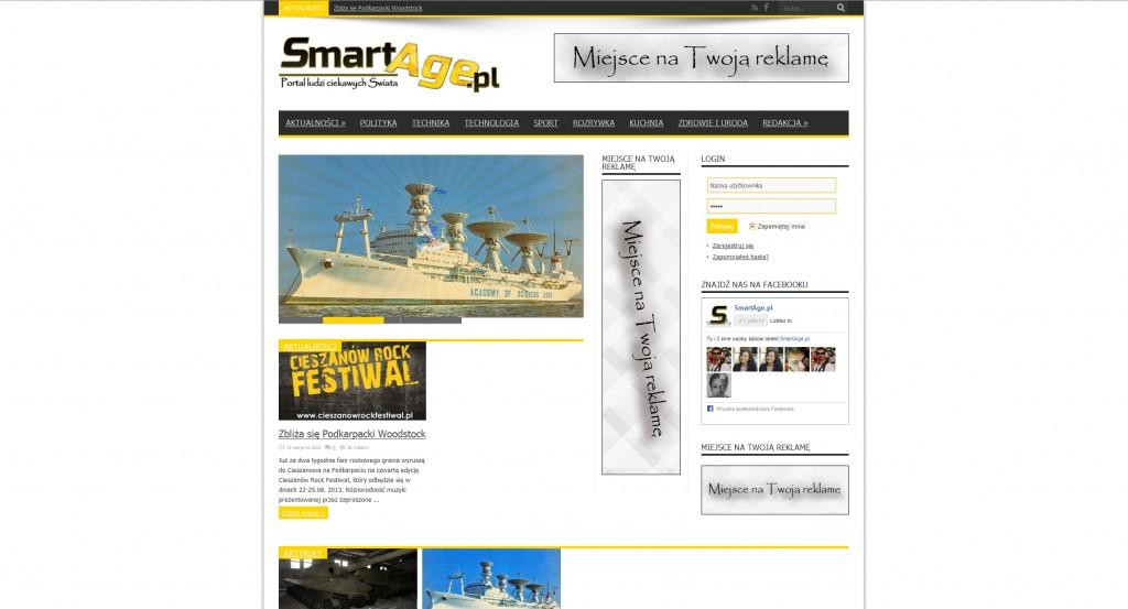 Portal SmartAge.pl na krótko przed uruchomieniem strony w październiku 2013 roku