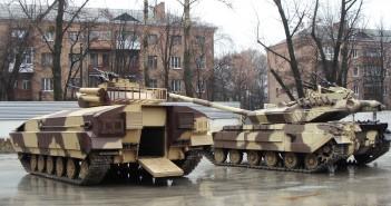 BMP-64 i z tyłu zmodernizowany T-64