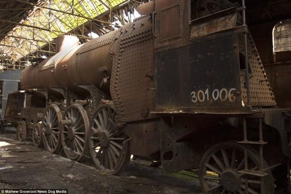Do lokomotywa MAV 301 doczepione są wagony, które miały być wykorzystywane przez nazistów do transportu żydów do Auschwitz (fot. Mathew Growcoot)