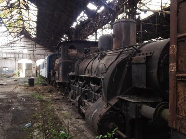 Jedna z lokomotyw w składnicy w Istvántelek