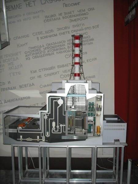Model budynku reaktora numer 4 (fot. en.academic.ru)
