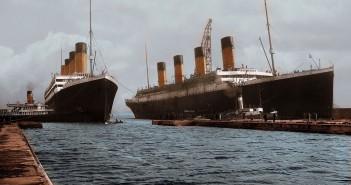 RMS Olympic i RMS Titanic (po prawej) w Belfaście