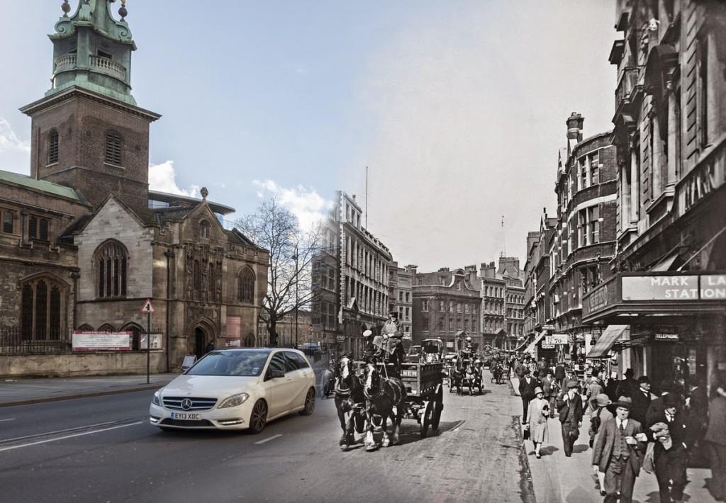 Byward Street niedaleko Tower Hill. Po lewej widać kościół All Hallows. (fot. George Davison Reid)