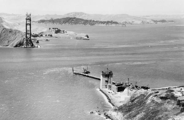 Most Golden Gate krótko po rozpoczęciu budowy