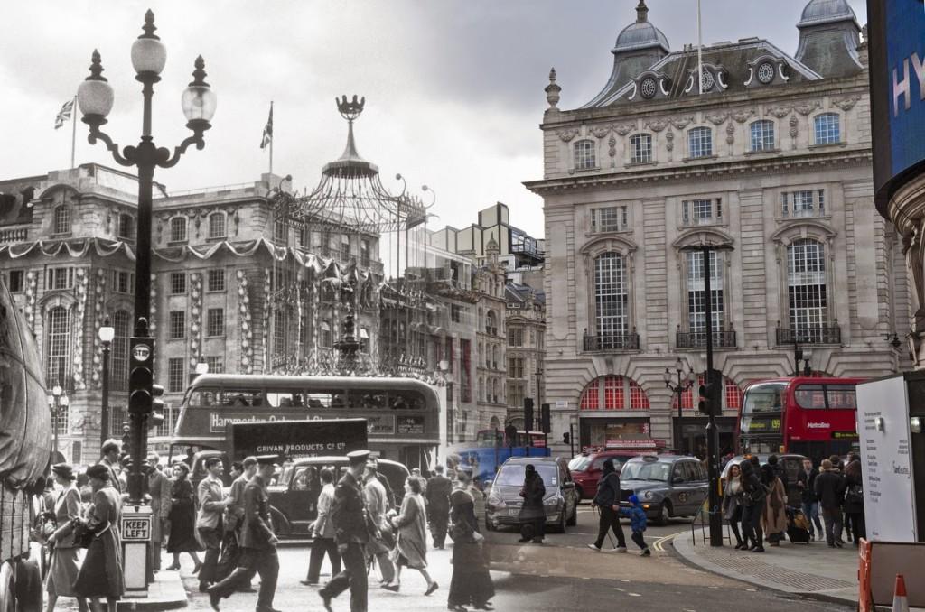 Piccadilly Circus podczas koronacji królowej Elżbiety II w 1953 roku.
