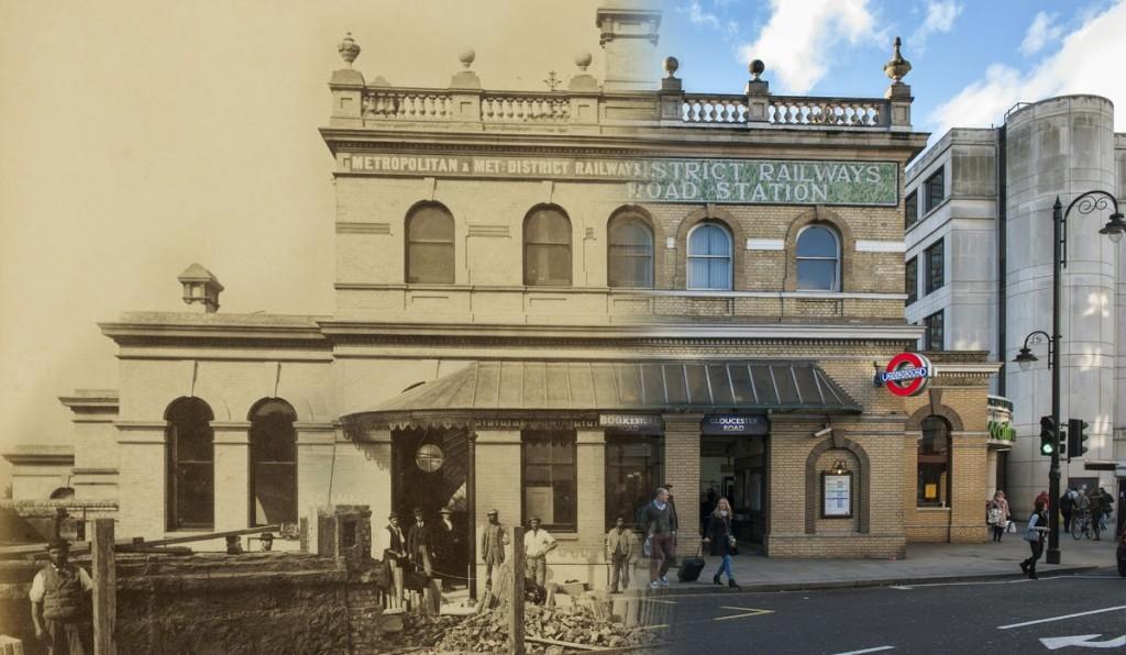 """Budynek Gloucester Road Station, zbudowany w latach 60-tych i otwarty 3 października 1868 roku budynek stoi do dnia dzisiejszego w praktycznie niezmienionej formie, jedynie otoczenie nieco """"zarosło"""" (fot. Henry Flather)"""