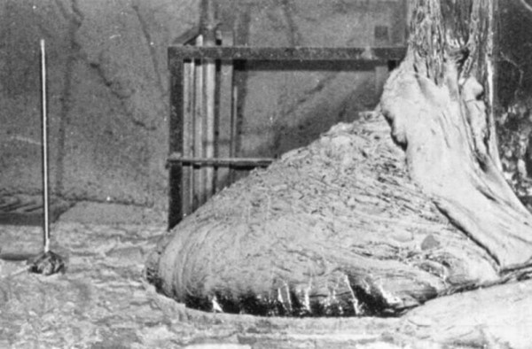 """""""Stopa słonia"""" - tak nazwano roztopiony rdzeń, który przebił się do pomieszczeń poniżej reaktora (fot. rarehistoricalphotos.com)"""