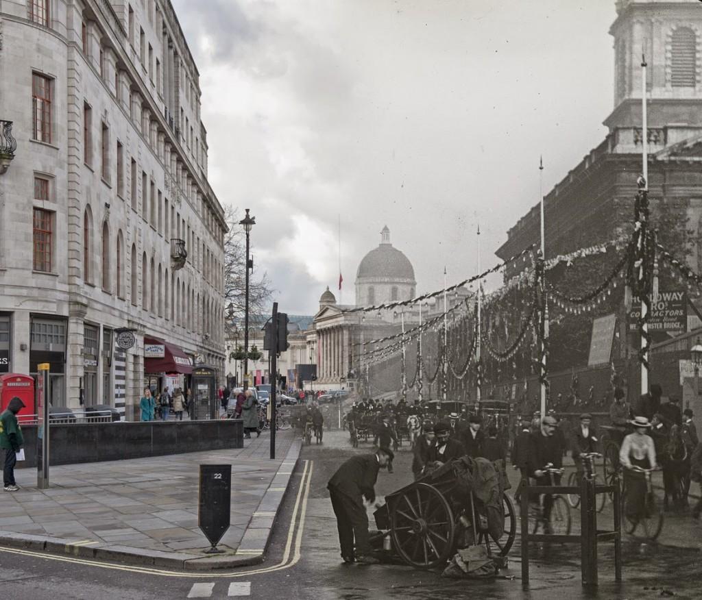 Widok na Duncannon Street, udekorowaną z okazji koronacji Edwarda VII (fot. Christina Broom)