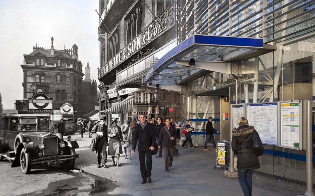 Widok na Blackfriars station - 179 Queen Victoria Street. Budynek zbombardowano w 1940 roku i mocno uszkodzono, także po odbudowie nie wygląda już tak samo jak kiedyś