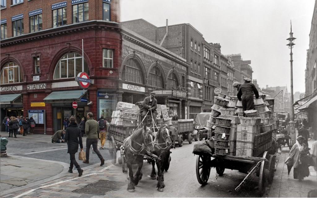 Widok na zakorkowaną Covent Garden. Ze względu na pobliski targ, ruch na tej ulicy był bardzo wzmożony (fot. George Davison Reid )