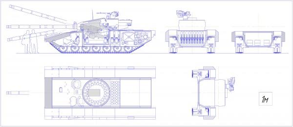 Przekrój czołgu w opinii autora (fot. paralay/paralay.iboards.ru)
