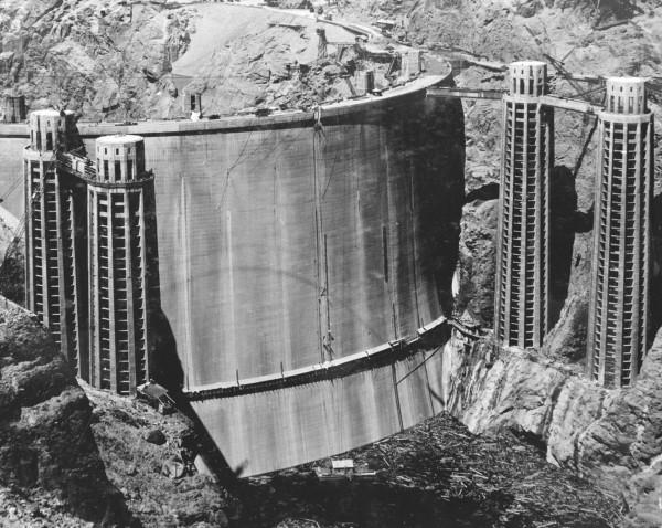 Zapora Hoovera przed zalaniem Jeziora Mead