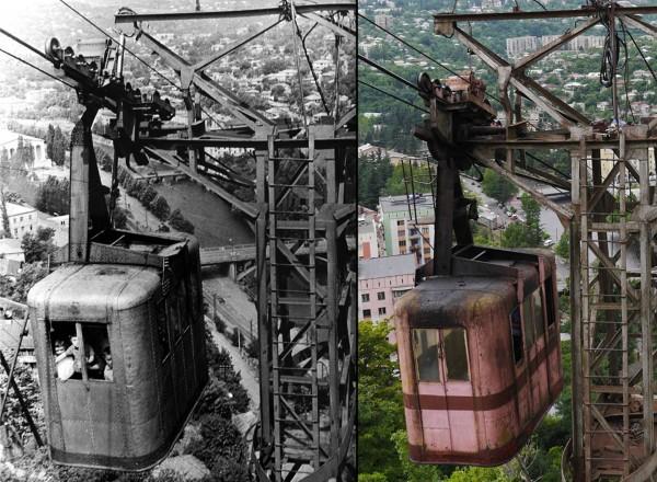 Wagonik nr. 25. Prawdopodobnie najstarszy działający wagonik, zdjęcie z lat 50-tych i współczesne (fot. Georgian Manganese Holdings)