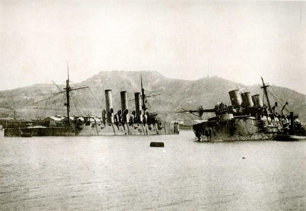 Wrak krążownika Pałłada i pancernika Pabieda w Port Arthur