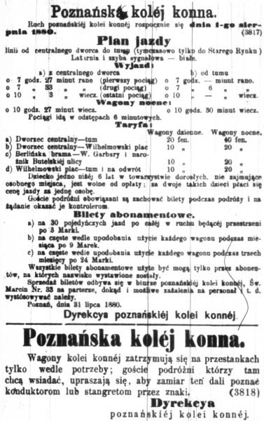 """Ogłoszenie z 1 sierpnia 1880 roku z informacjami o uruchomieniu """"kolei konnej"""""""