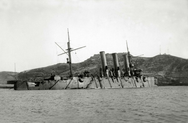 Uszkodzona Pałłada w Port Arthur