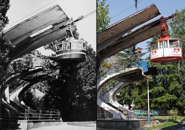 Wagoniki kolejki w latach 60-tych i współcześnie. W 2008 roku wagonik tej kolejki uległ awarii i zawisł wysoko nad ziemią. 12 pasażerów przez 12 godzin czekało na pomoc. (fot. Georgian Manganese Holdings )