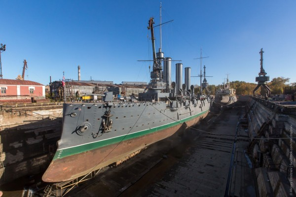 Aurora w suchym doku w 2014 roku (fot. Aleksiej Dmitrjew)