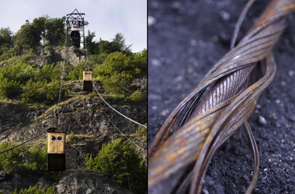 Wagoniki kolejki, całe systemy i liny są w bardzo złym stanie. Metr stalowej liny którą widać po prawej waży 12 kg (fot. Amos Chapple/Rex Features)