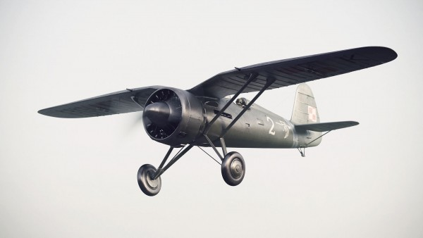 Grafika przedstawiająca polski samolot myśliwski PZL P-11