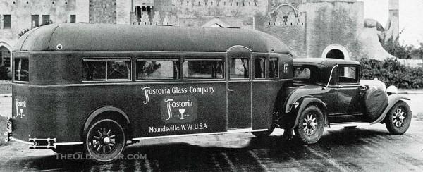 Aerocar z lat 1929-1930 wykorzystywany przez firmę Fostoria Glass Company. Do holowania wykorzystywany był Buick Sport Coupe. Tym co wyróżnia to zdjęcie są koła przyczepy o podobnym wyglądzie do samochodowych (fot. theoldmotor.com)