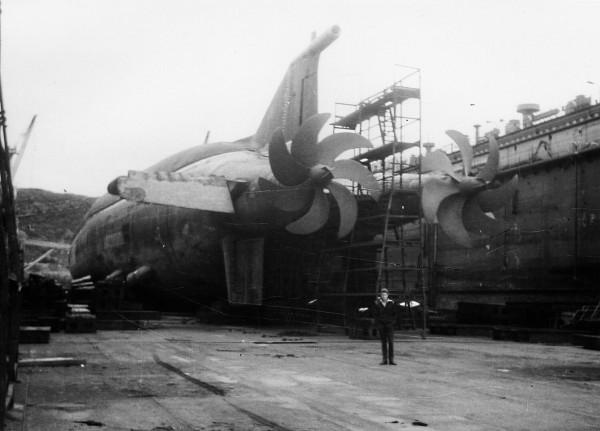 Okręt podwodny typu Oscar II podczas budowy