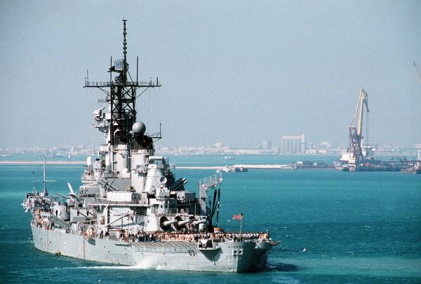 USS Missouri po powrocie z Zatoki Perskiej w 1991 roku