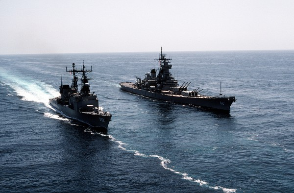 USS New Jersey i niszczyciel USS Fletcher