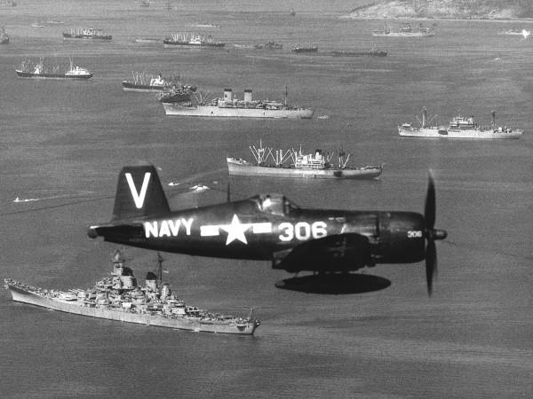 USS Missouri w Korei w zatoce Inchon w latach 50.